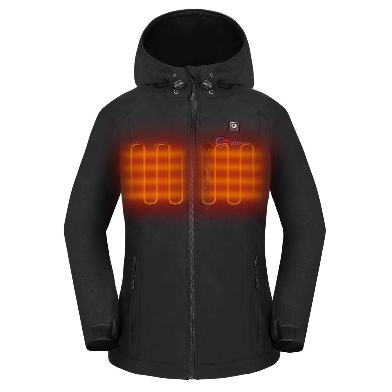 OUTCOOL Women's Heated Jacket with Hood Slim-Fit Heating Jacket (Type: NJK1901)