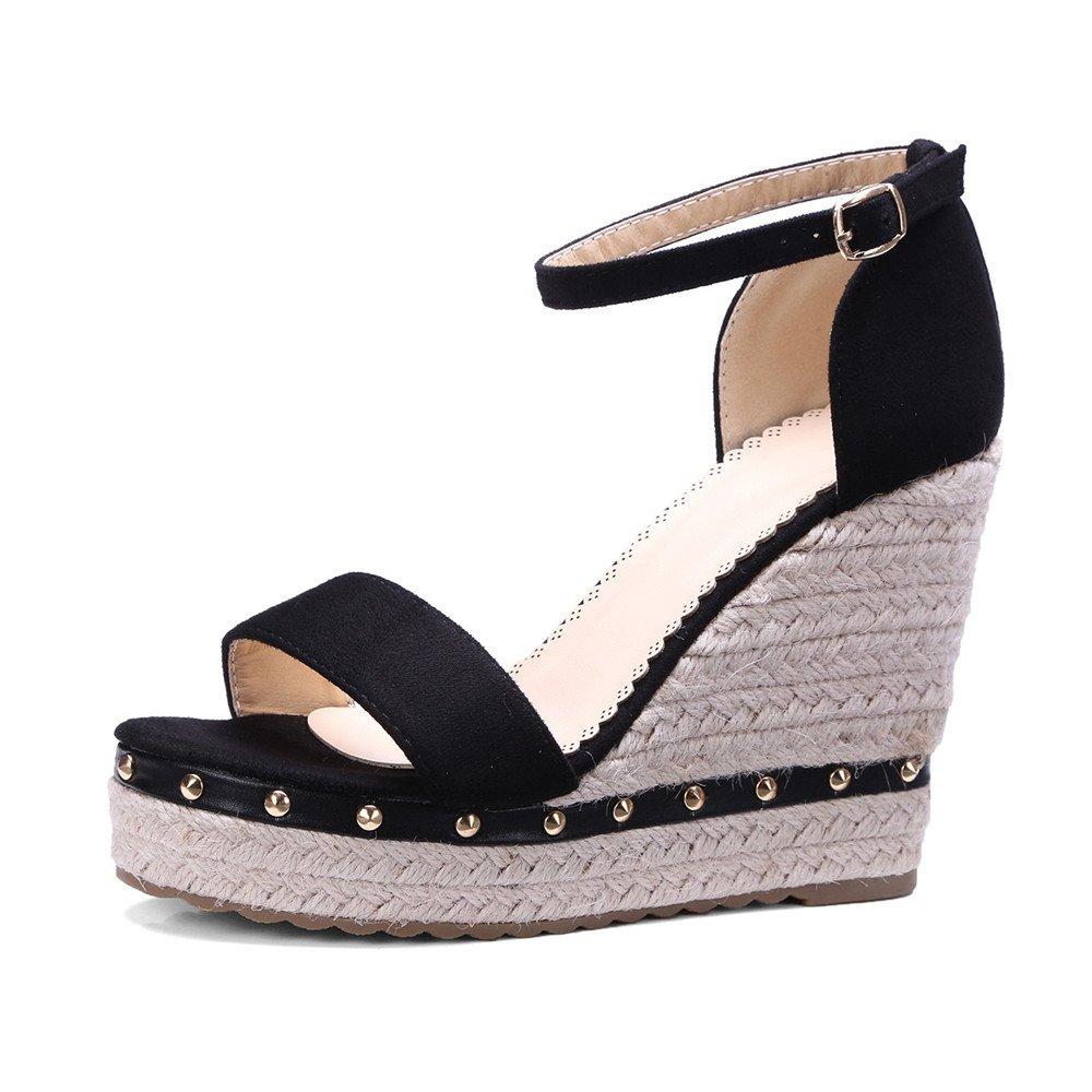 Shymamamiya Grass Weaving 15658 Twine Taille Toe Sandales Compensées 39 Fashion Rivets Fish Mouth Buckle Chaussures pour Femmes (Couleur : Noir, Taille : 39 1/3 EU) Noir c98d49e - reprogrammed.space