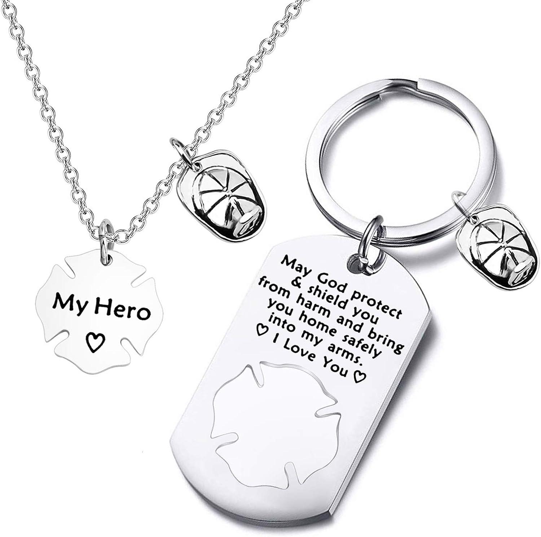 Fireman Mom My Hero Fire Wife Necklace Daughter Jewelry Maltese Cross Necklace Firefighter Girlfriend Gift Firefighter Wife Jewelry