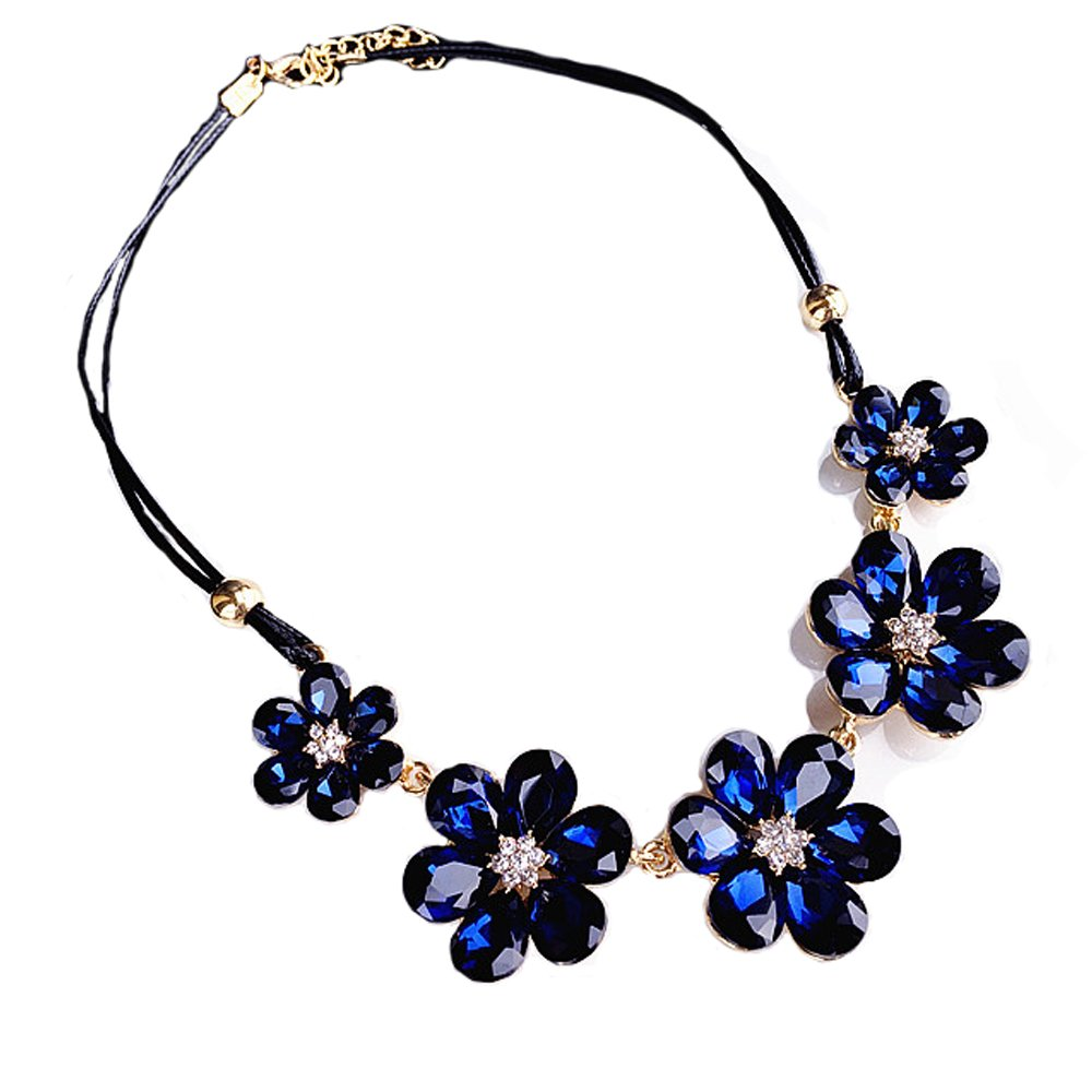 Flower Crystal Statement Necklaces Y-shape Leather Choker Chain Blue Collar Necklaces for Women