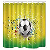 NYMB Sporter Soccer Decor, Splashing Football in Yellow for Child Shower Curtain, Polyester Fabric Waterproof Bath Curtain, 69X70 in, Shower Curtains Hooks Included, Green(Multi4)