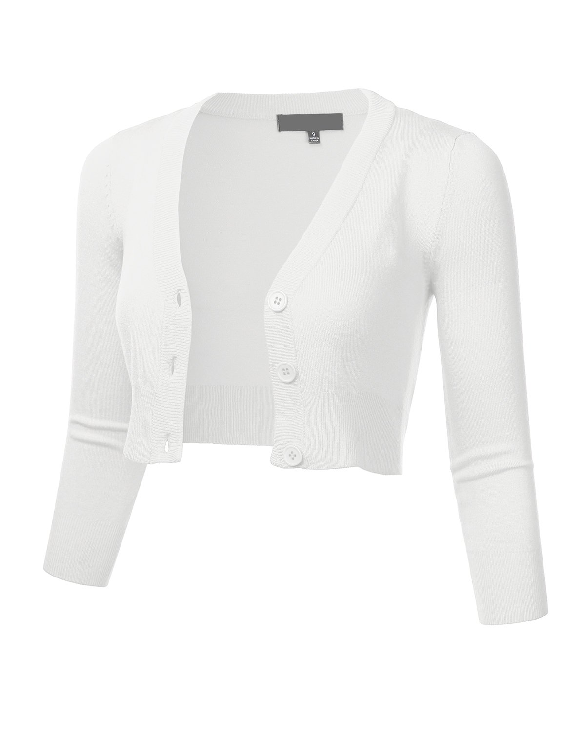 FLORIA Women Solid Button Down 3/4 Sleeve Cropped Bolero Cardigan Sweater White M