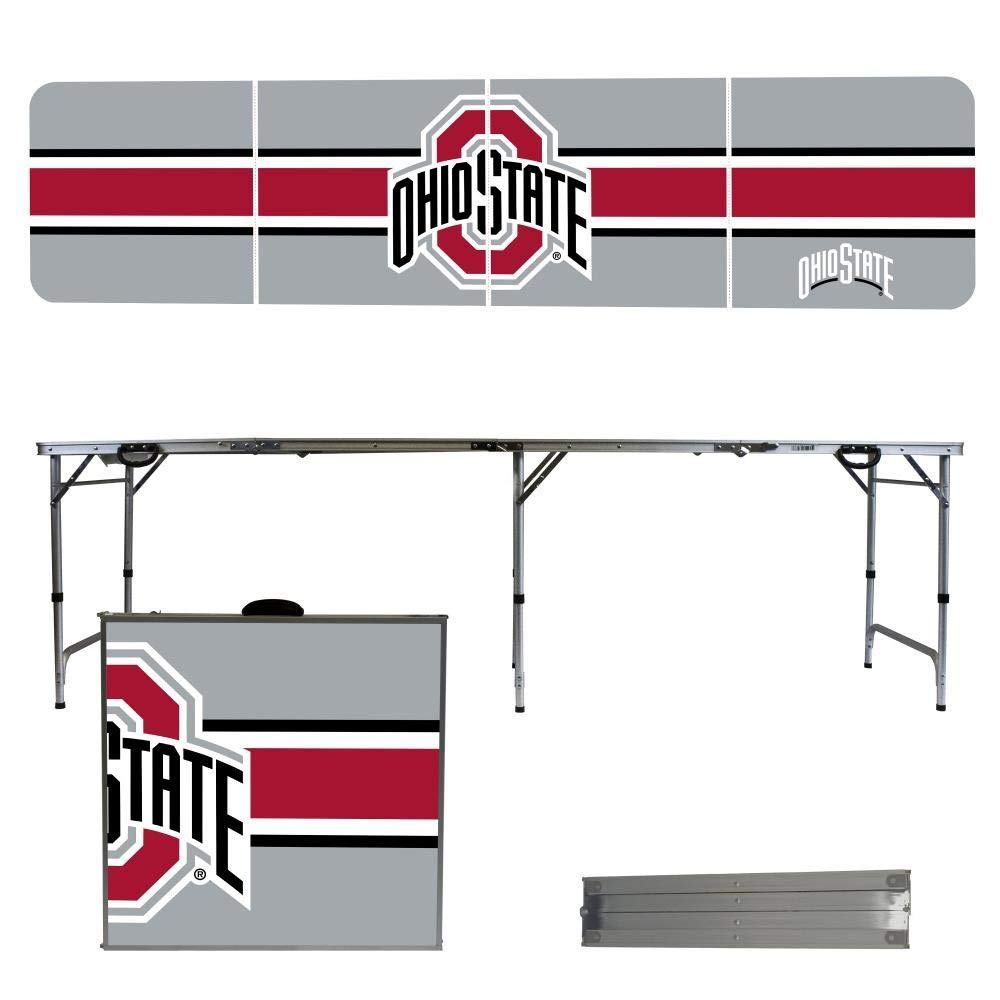 Ohio State University Buckeyes OSU 8 Foot Portable Folding Tailgate Table Stripe Version Victory Tailgate -- DROPSHIP 290486