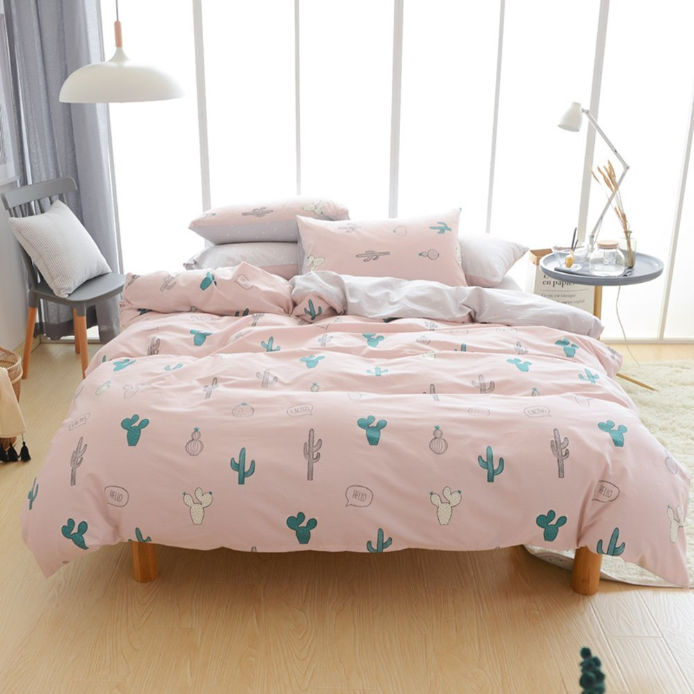 Adyonline Pink Cactus Cotton Duvet Cover Set for Girls Teens(1duvet cover,2 pillowcase)Reversible Comforter Cover,Breathable,Hypoallergenic,HealthyTwin