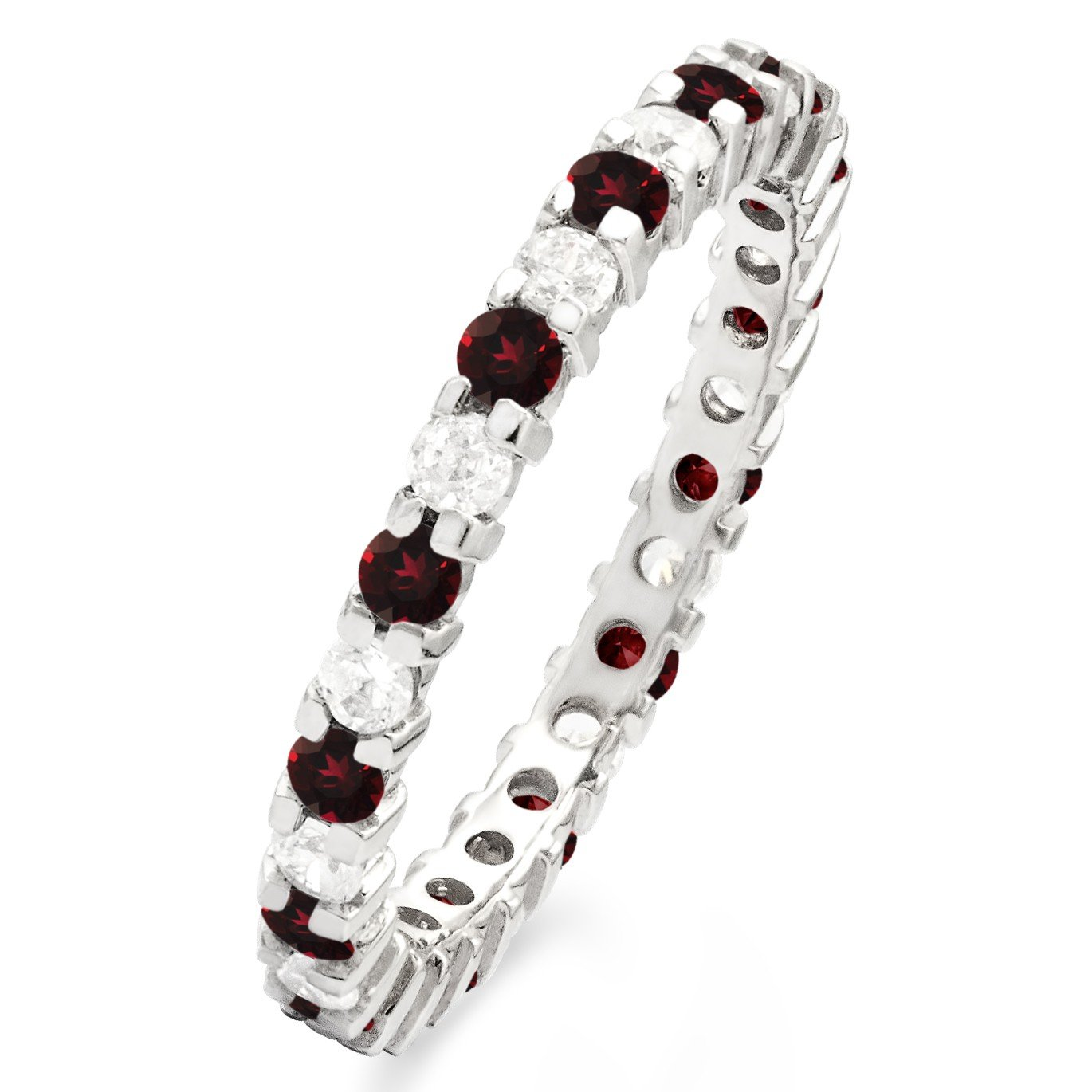 G-H I2-I3 TwoBirch Stackable 1.7 mm Diamonds and Genuine Ruby Set in Silver Double Shared Prong Eternity Ring