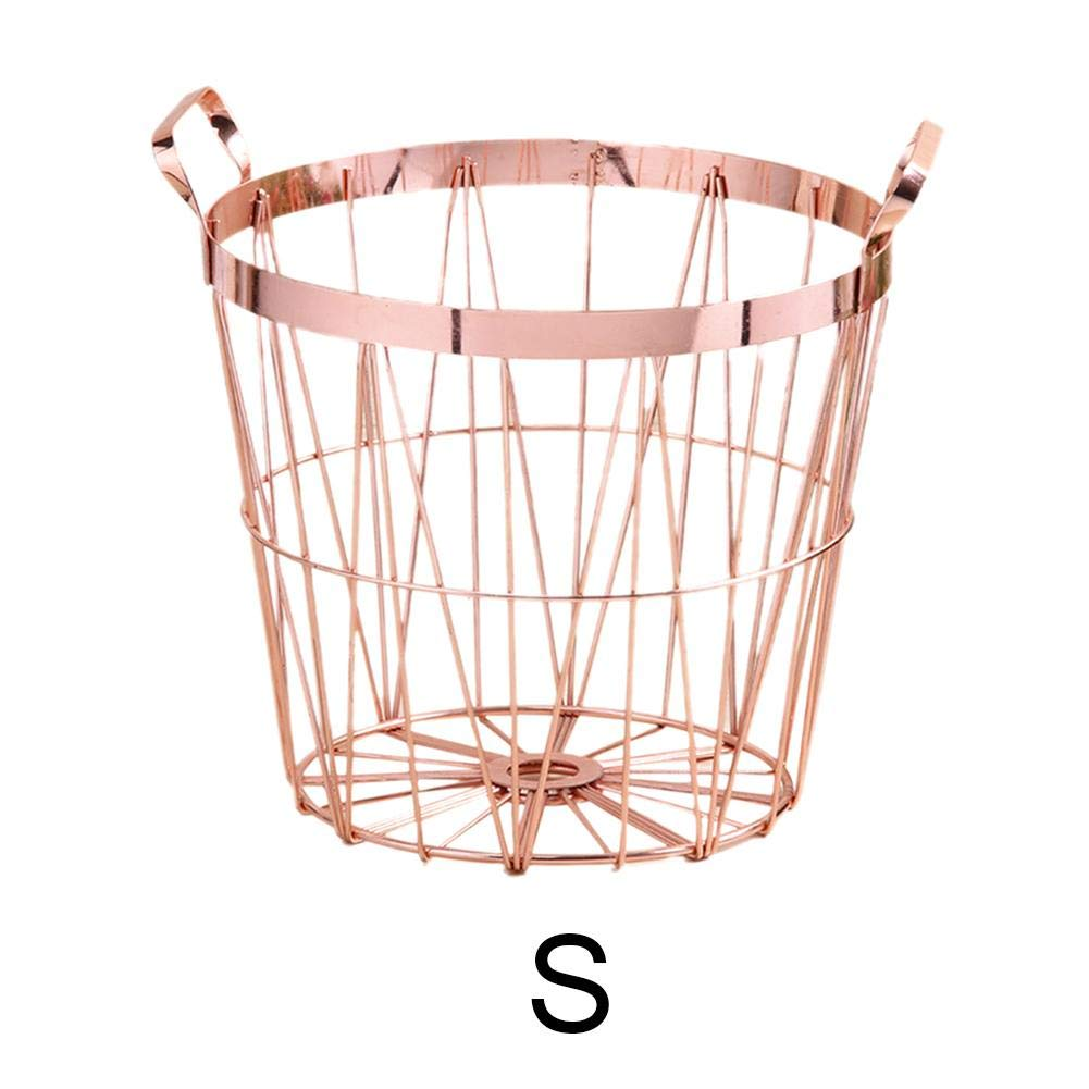 Dream-cool Nordic Style Rose Gold Storage Basket Wrought Iron Kitchen Clear Up Laundry Basket With Handle Fruit And Vegetable Storage Baskets Rose Gold