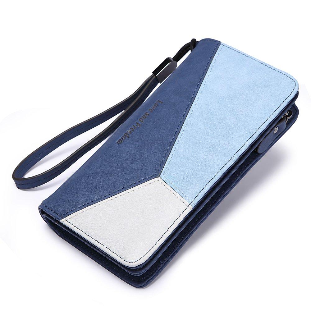 Women Wallet Leather Long Bifold Wristlet Clutch Fashion Ladies Purse Card Holder Organizer with Zipper Buckle blue