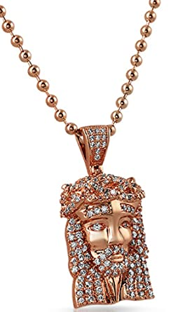 Amazon rose gold micro jesus piece cz iced out pendant clothing rose gold micro jesus piece cz iced out pendant aloadofball Images