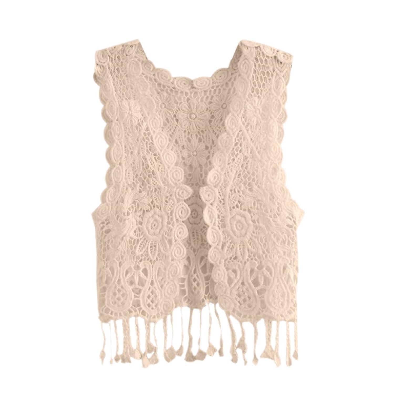 Amazon.com: Kids Baby Girls Crochet Knit Lace Cardigan, Tassel ...