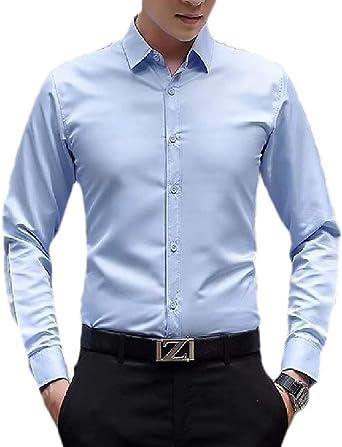 dahuo Camisa de Vestir de Manga Larga para Hombre Azul Azul Claro X-Large: Amazon.es: Ropa y accesorios