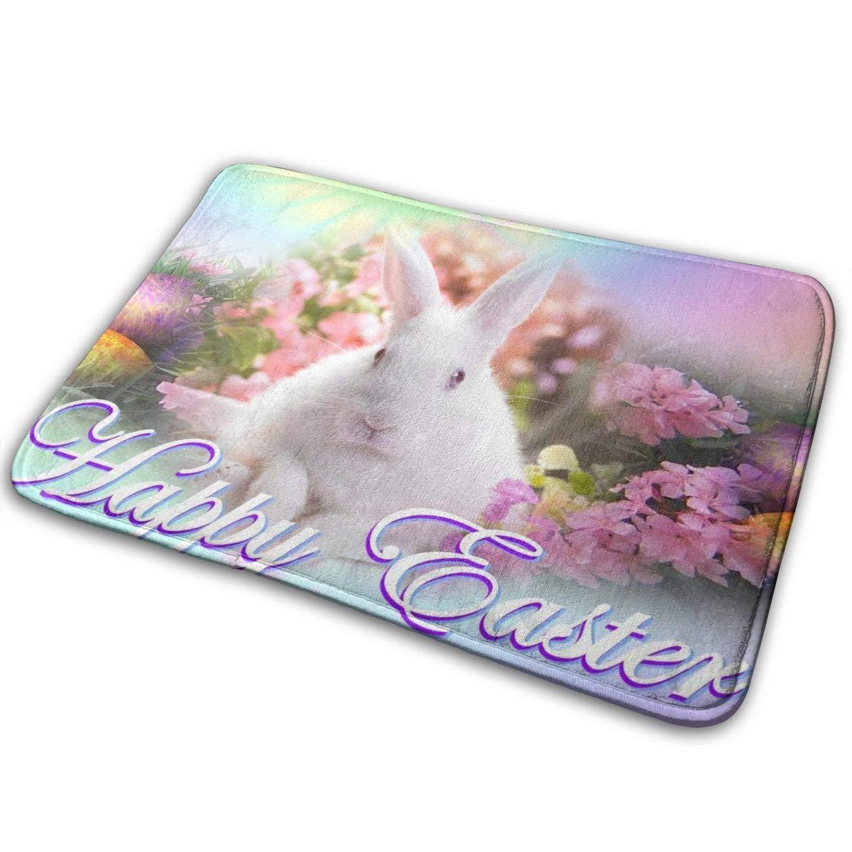 Indoor/Outdoor Mats White Tail Deer Fight Door Mat Bathroom Mats Home Decoration Non Slip Water Bath Mat Doormat Entrance Rug 4060cm (Happy Easter Rabbit) by Partrest (Image #1)