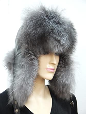 6fbaaad0b Amazon.com: Silver Fox Fur and Leather Trapper hat -Grey: Clothing