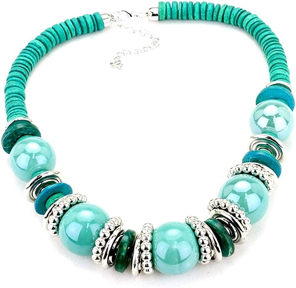 Uniklook Statement POP Color Chunky Mixed Wood Disc and Beads Fashion Necklace Earrings Costume Jewelry Set