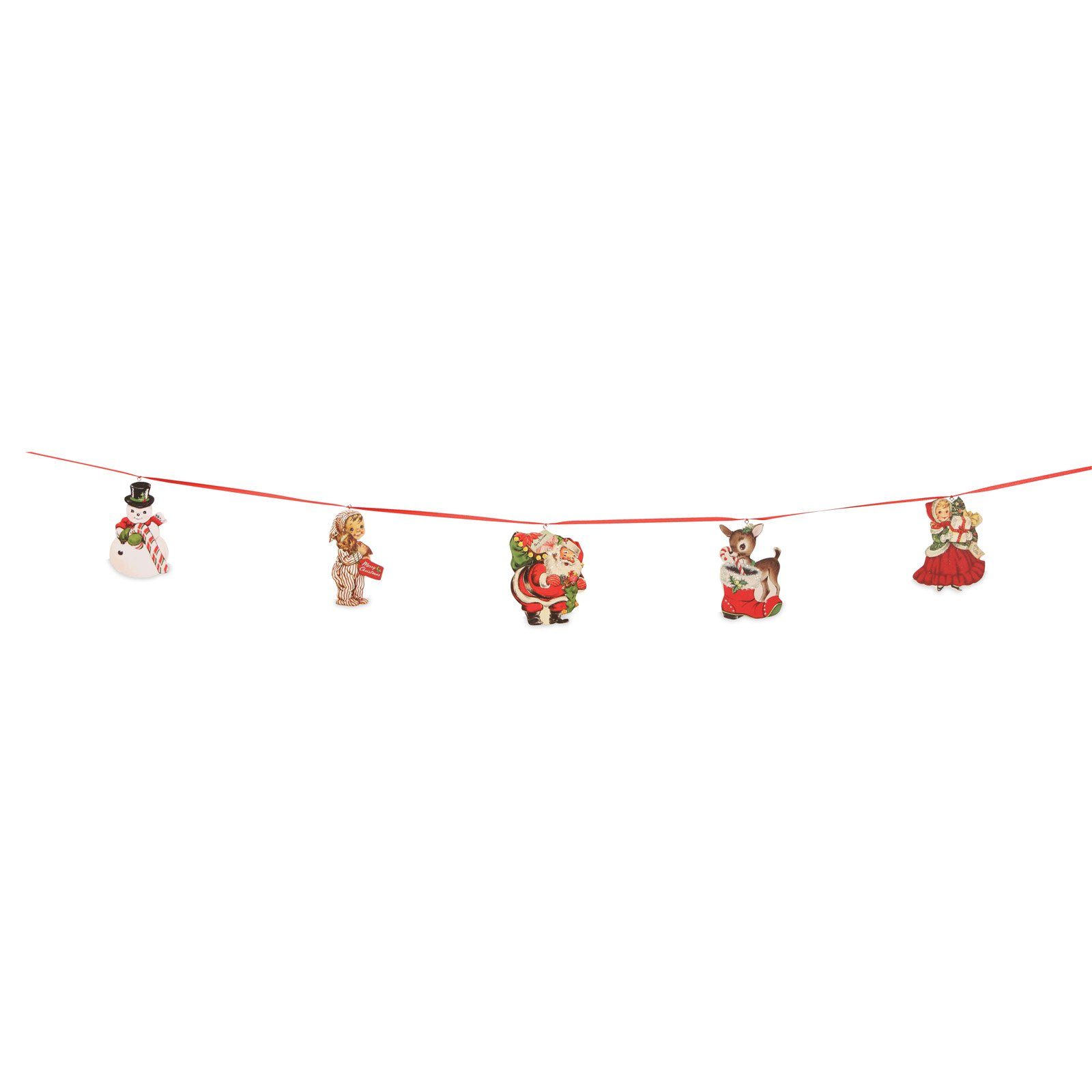 Bethany Lowe Retro Christmas Garland with Wood Cutouts, 70 Inches