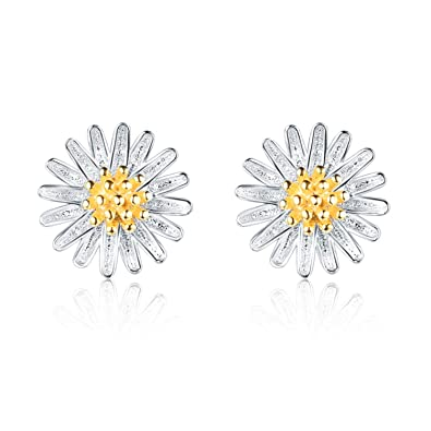 0656ecb82 I'S ISAACSONG Girls Hypoallergenic Sterling Silver Flower Stud Earrings,  Cubic Zirconia Crystal Charm Piercing Studs for Women – Daisy, Sunflower,  Cherry, ...