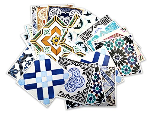Tiles Stickers Decals - Packs with 32 Tiles (7.9 x 7.9 inches, Wall Decals Stickers Decor Traditional Spanish Tiles)