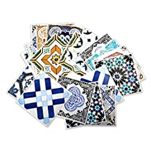 Wall Decals Stickers Decor Traditional Spanish Tiles (Pack with 32) (4 x 4 inches | 10 x 10 cm) by Moonwallstickers.com