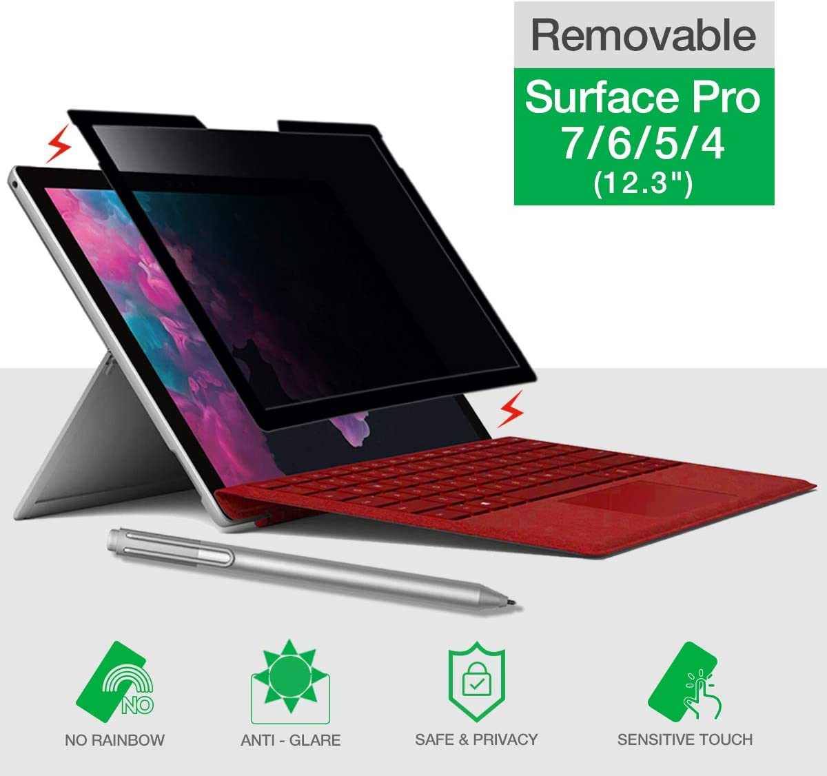 Surface Pro Privacy Screen Protector, Compatible with Microsoft Surface Pro 7/6/5/4, Removable Anti Spy Privacy Screen Filter, Easy Installation, Bubble Free