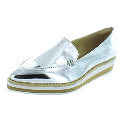 7c85453753a DKNY Womens Seaport Patent Leather Mirrored Loafers Silver 5.5 Medium (B