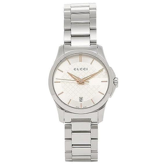 8c06494bc8ef Amazon | [グッチ] 腕時計 レディース GUCCI YA126523 ホワイト シルバー ...