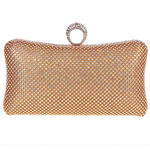 Fawziya Bling Ring Clutch Purse Women Rhinestone Clutch Evening Bag-AB Gold (Silk Evening Shoes)