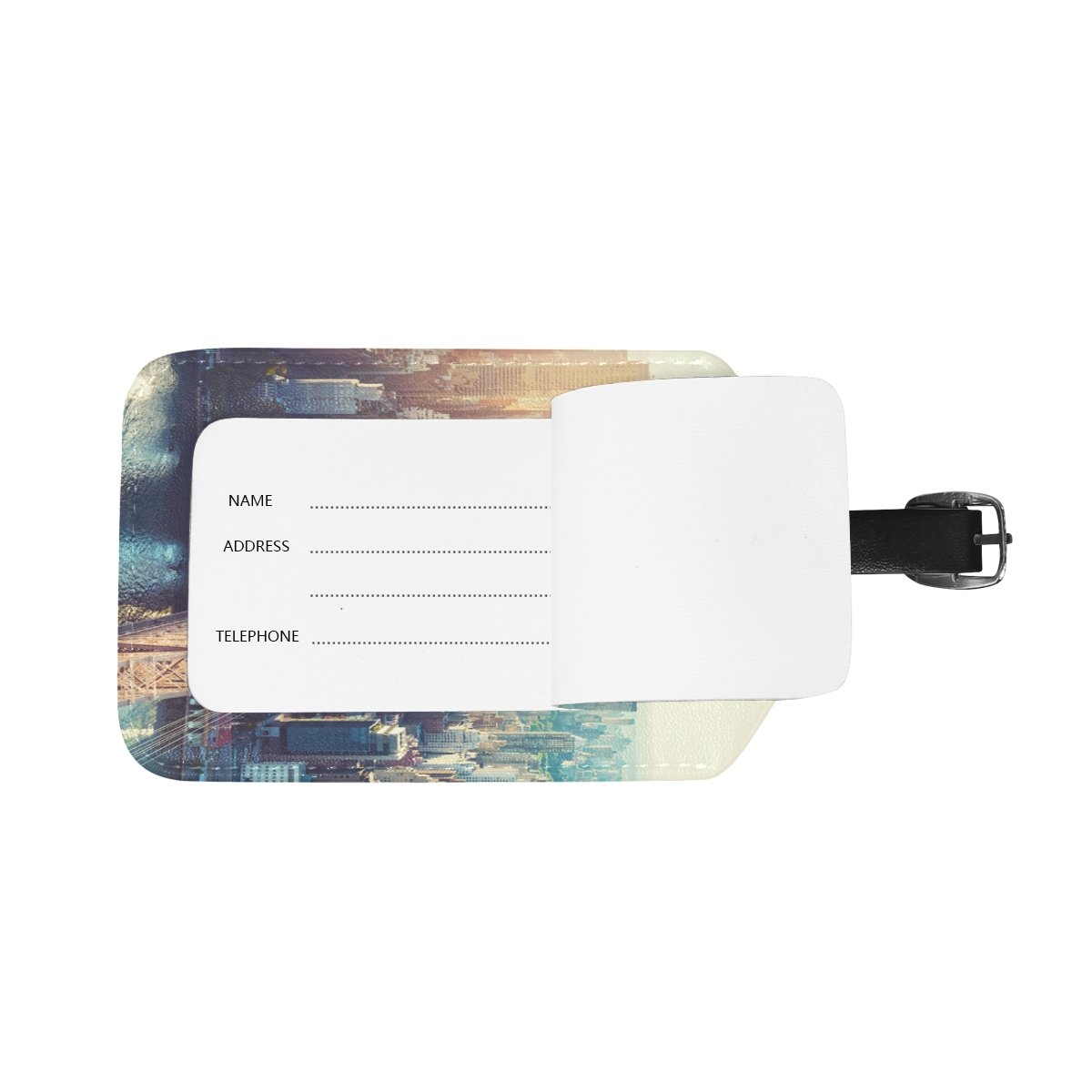 Saobao Travel Luggage Tag Aerial View Of The New York City Skyline PU Leather Baggage Suitcase Travel ID Bag Tag 1Pcs