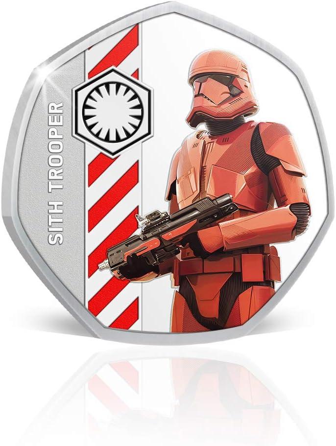 Sith Trooper 50p-Silber-Gedenkm/ünze in Form Einer 50-Pence-Gedenkm/ünze IMPACTO COLECCIONABLES Star Wars-Geschenkartikel Rise of Skywalker