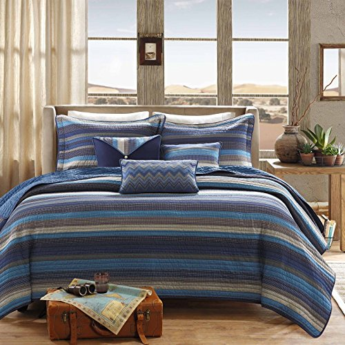 - Modern Quilt Coverlet Bedding Set Blue Striped with Pillows (King/cal King) Includes Scented Candle Tarts