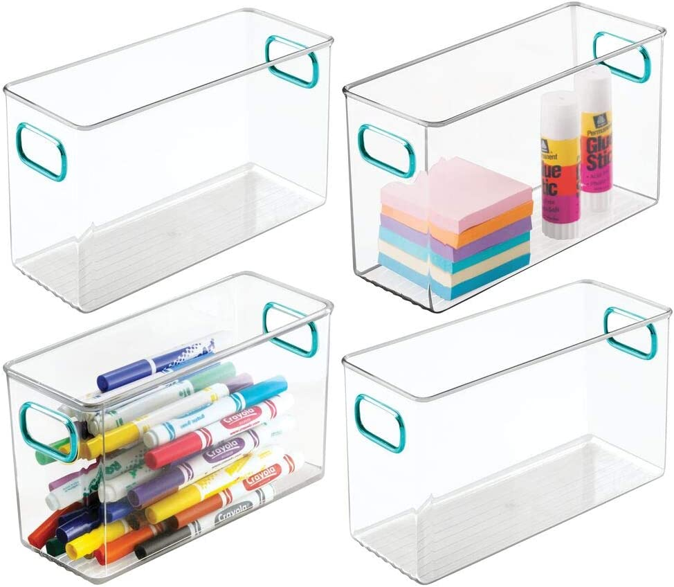 """mDesign Plastic Home, Office Storage Organizer Bin Box Container with Handles for Cabinets, Drawers, Desks, Workspace - for Pens, Pencils, Highlighters, Notebooks - 10"""" Long, 4 Pack - Clear/Blue"""