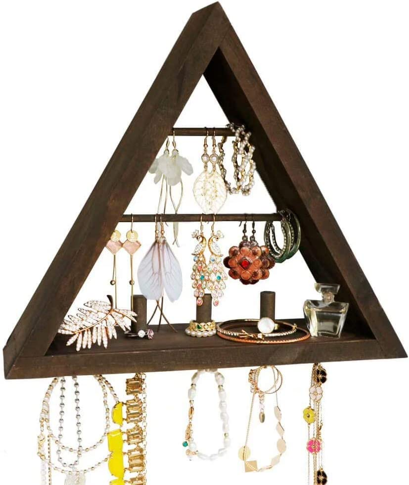 Beautifulhome Jewelry-Organizer Wall-Mounted, Rustic Hanging Earring Holder - Stylish Triangle Wooden Jewelry Display with Hooks for Rings, Earrings, Necklace and Accessories