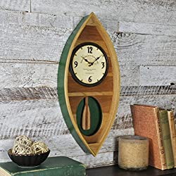 FirsTime & Co. Wood Canoe Pendulum Clock, 18 H x 7.75 W, Wood & Green