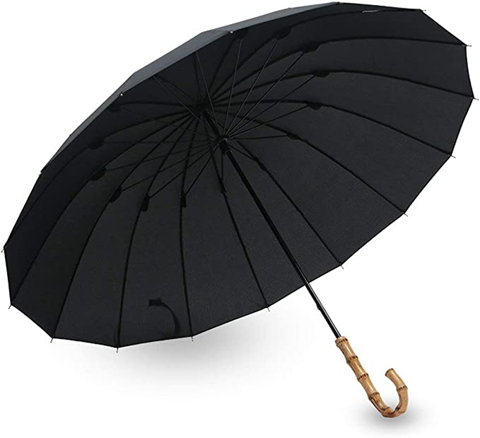 Bamboo Rattan Long Umbrella Men Retro Curved Handle Strong Glass Fiber Anti UV