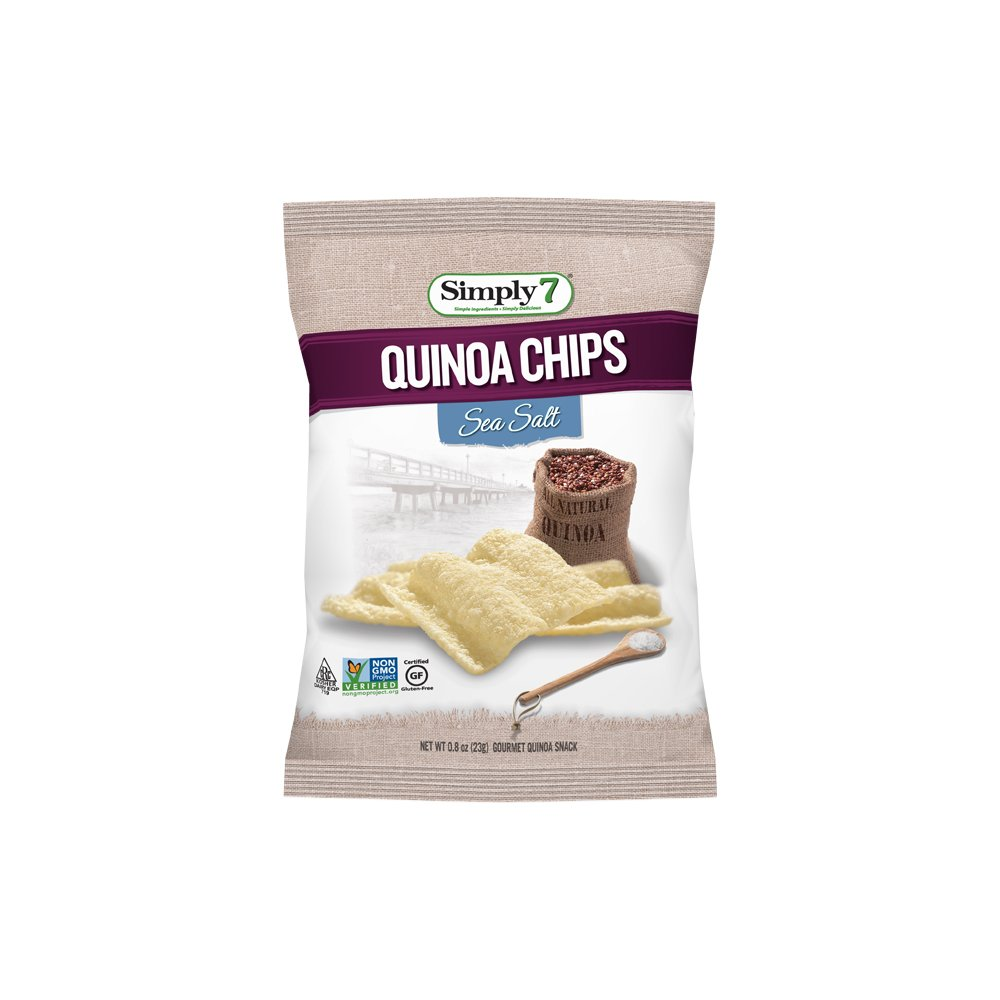 Simply7 Gluten Free Quinoa Chips, Sea Salt, 0.8 Ounce, (Pack of 24)