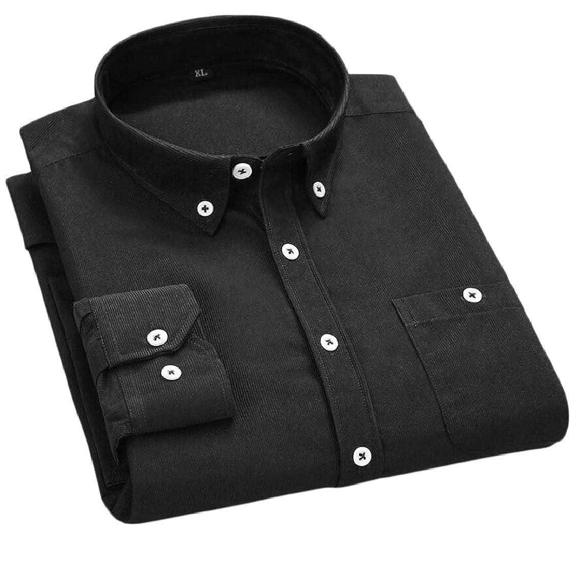 Jmwss QD Mens Casual Slim Solid Corduroy Long Sleeve Button Down Shirts