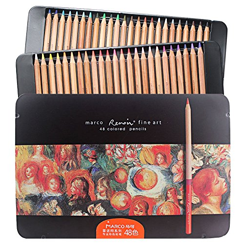 48-color Premium Oil-based Colored Pencils - Huhuhero Profes