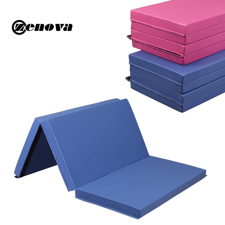 ZENOVA 体操 タンブリングマット 極厚 3インチ (7.5cm) 折りたたみ式 体操マット 高耐久 クラッシュパッド 青-3 Folds