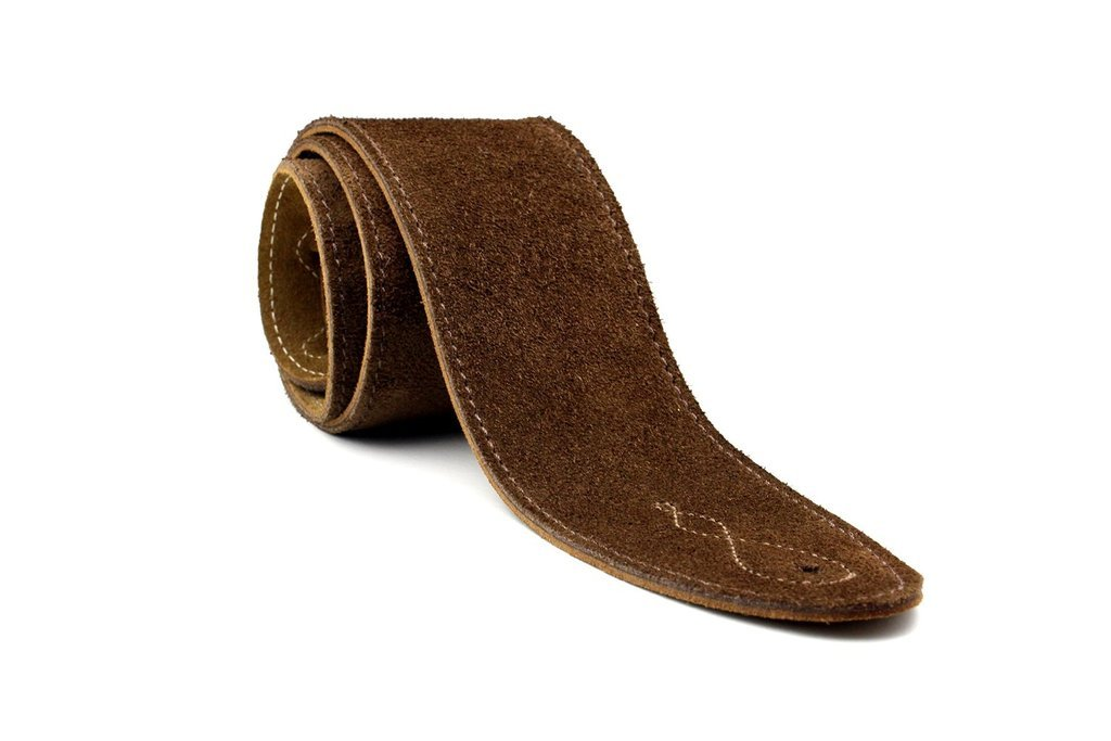LeatherGraft Walnut Brown Genuine Suede Style 2.5 Inch Wide Guitar Strap - Suitable for All Electric, Acoustic, Classical & Bass Guitars by Leathergraft