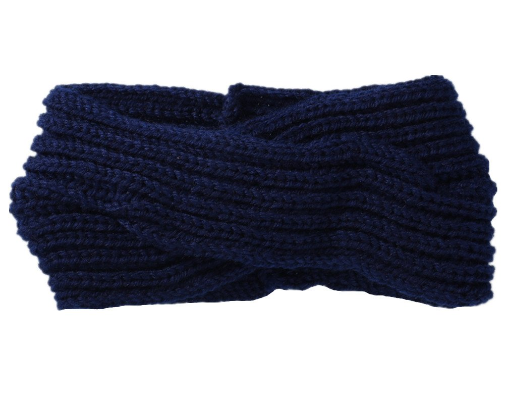 Fletion Fascia per capelli da donna/ragazza, per autunno/inverno, calda, a maglia di lana, annodata grigio chiaro