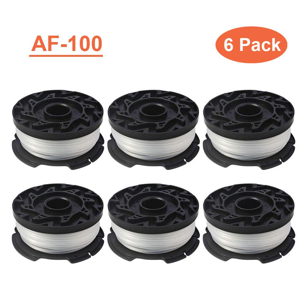 Thten AF-100 Weed Eater Spools Compatible with Black Decker GH900 GH600 String Trimmer Replacement Spool Refills 30ft 0.065'' Auto-Feed Single Lines Edger Parts Grass Trimmers (6 pcs) by Thten