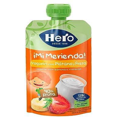 Hero - Bolsita De Fruta Nanos Merienda Yogur Plátano Fresa 100 gr - Pack de 9 (Total 900 gr)
