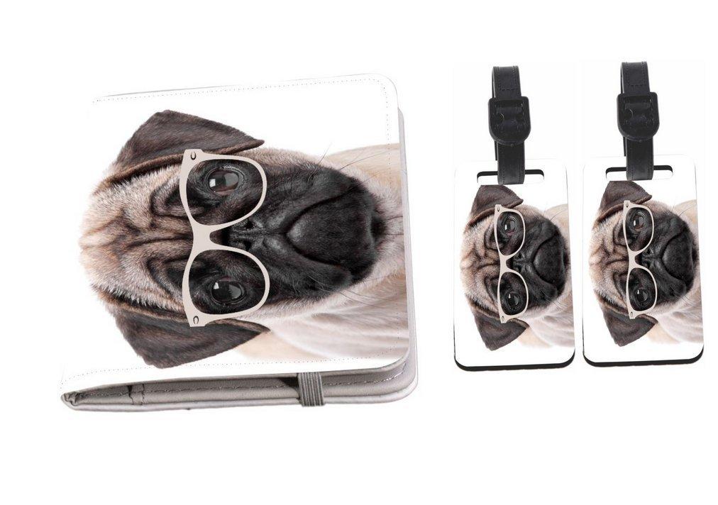 Rikki Knight Hipster Pug Dog Puppy with Glasses Passport Holder + Luggage Identifier Tags by Rikki Knight