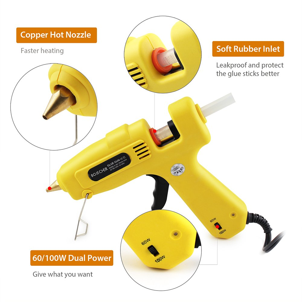 Hot Glue Gun, BOJECHER Full Size 60/100W Dual Power Hot Melt Glue Gun with 20pcs Glue Sticks (0.43 x 7.8) High Temperature Melt Adhesive Glue Gun Kit for Home DIY Craft Projects and Industrial Repair by BOJECHER (Image #7)