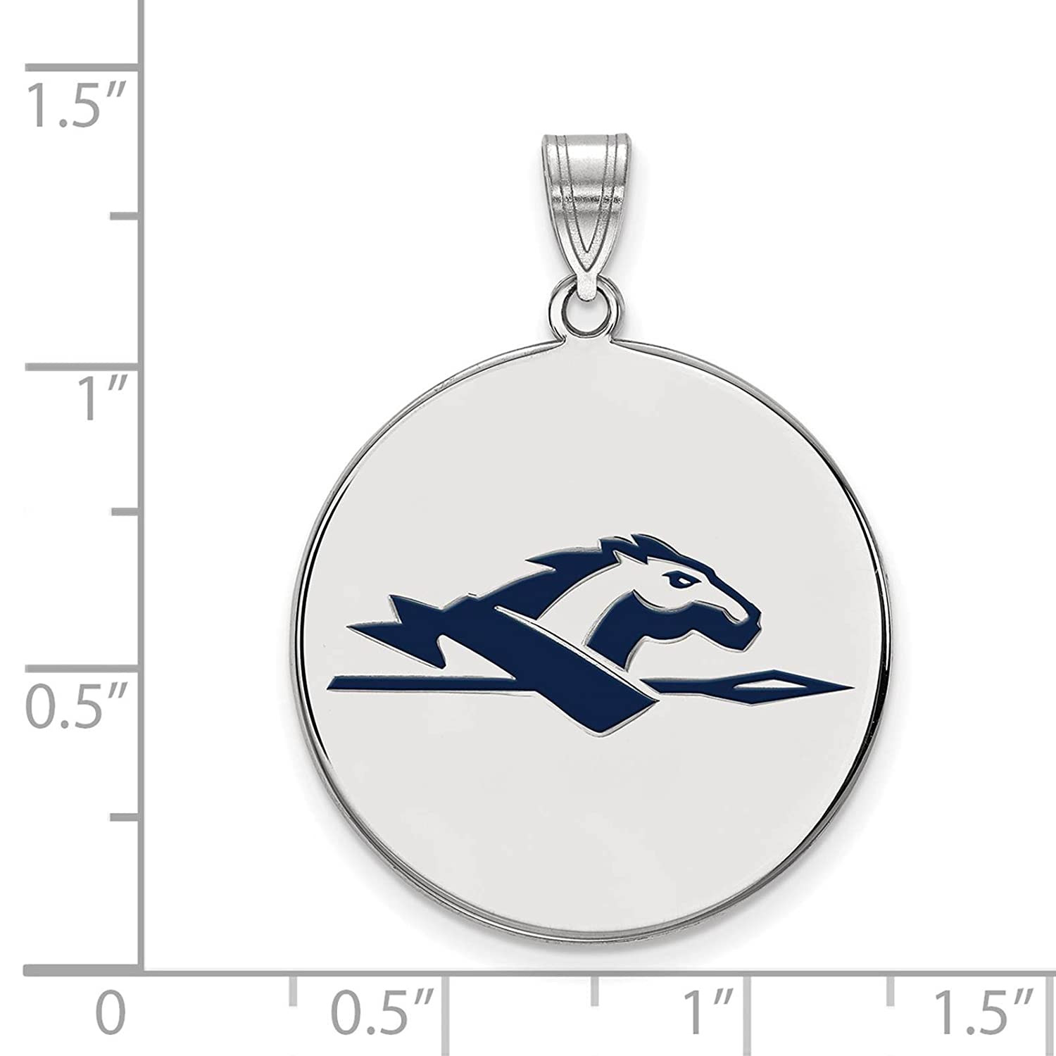 925 Sterling Silver Rhodium-plated Laser-cut Longwood University XL Enameled Disc Pendant