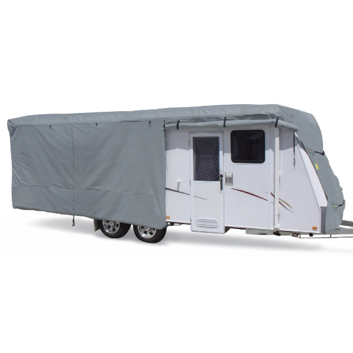 Summates Travel Trailer Cover RV Cover,Color Gray,Beige,160g SSFS 4 Layer Polypropylene Fabric,fits Most Sizes Gray, 16-20 Feet