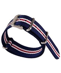 Tissu en nylon Motif à rayures 3couleurs Rouge et Blanc et Bleu Toile en nylon tissé bande montre sangle Armée Militaire 20mm Largeur du bracelet