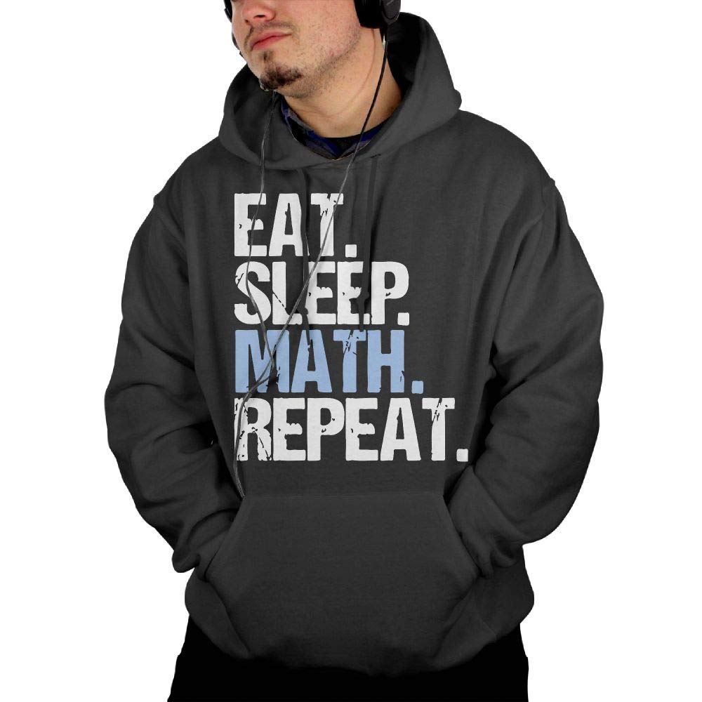 Eat Sleep Math Repeat Mens Hoodies Casual\r\n Greatcoat with Kanga Pocket