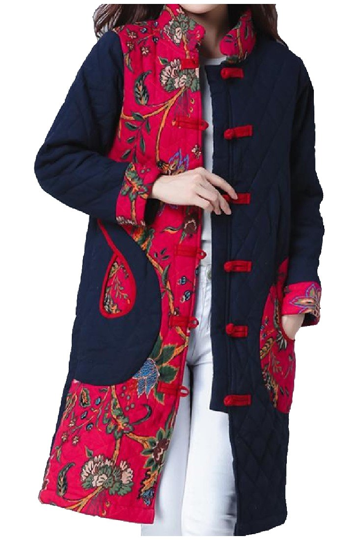 BabyYoungWomen BabyYoung Womens Chinese Style Outwear Comfy Parka Jacket with Pockets Navy Blue Medium by BabyYoungWomen (Image #1)