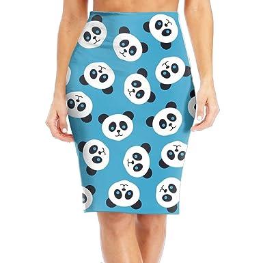 796fa03298c NKZSUX Womens Fashion Cute Panda Blue Midi Pencil Skirt Elasticity Slim  Pencil Skirts