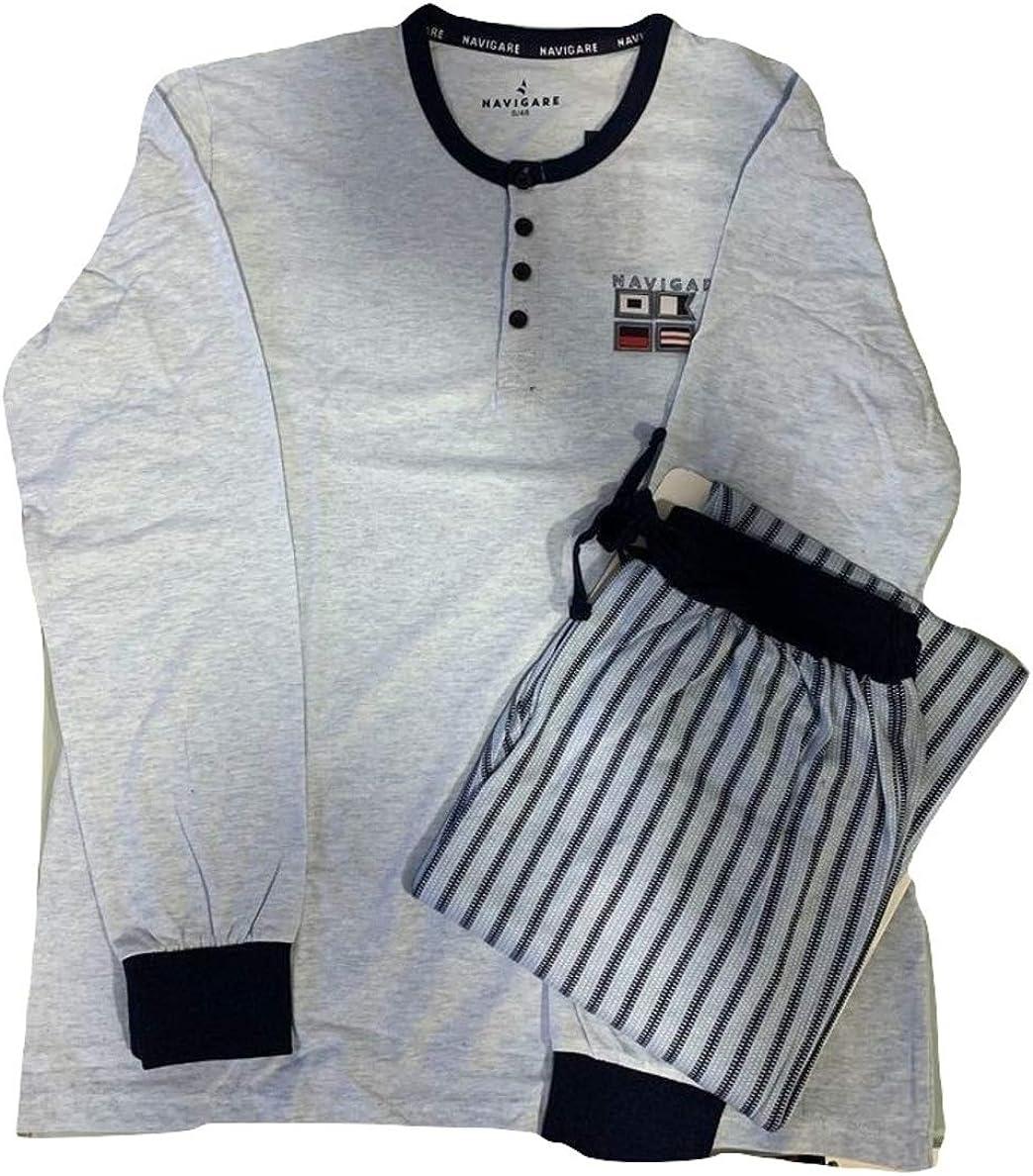 B2141090 Navigare Pigiama Serafino Uomo Lungo Due Pezzi Cotone Jersey Art
