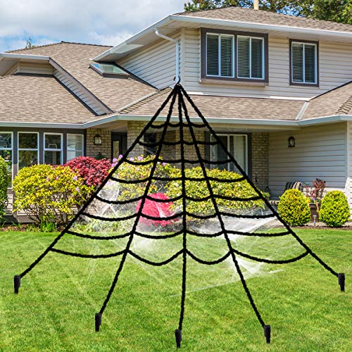 Halloween Giant Spider Web, Libay 16 FT Spider Web Decorations with Super Stretch Cobweb Set Scary Halloween Outdoor Decor Yard Decorations Props, Black]()